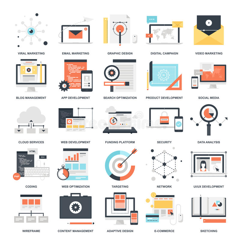 SEO and Development. Abstract vector collection of colorful flat SEO and development icons. Design elements for mobile and web applications vector illustration