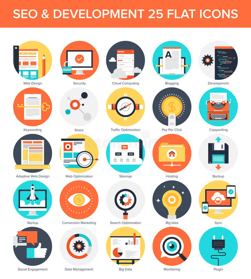 SEO and Development. Abstract vector set of colorful flat SEO and development icons. Creative concepts and design elements for mobile and web applications vector illustration