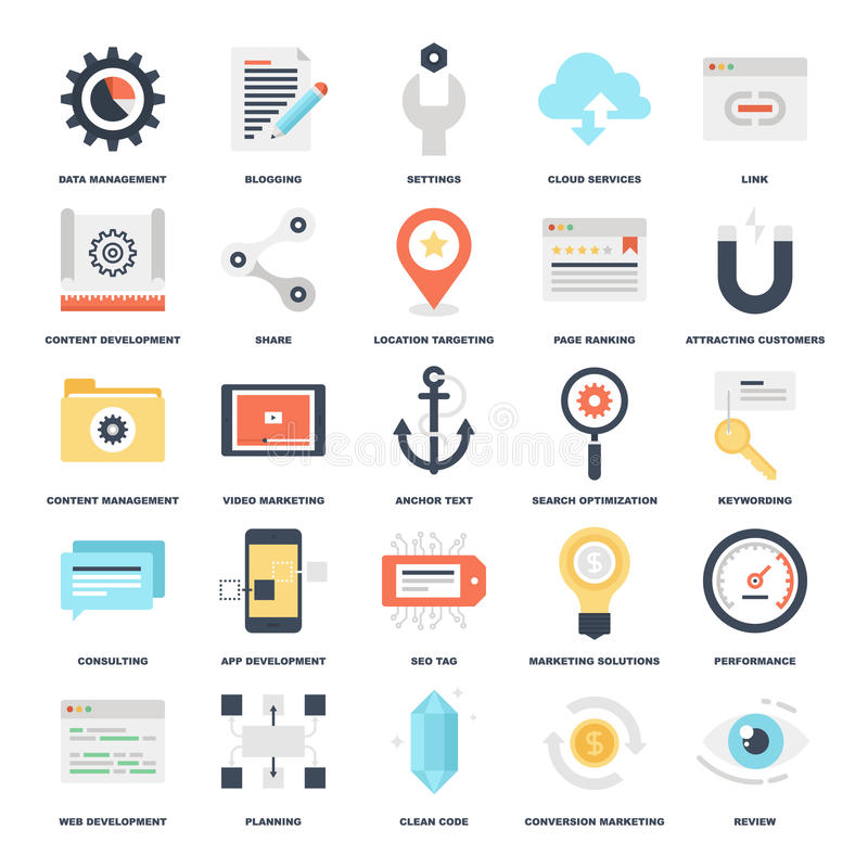 SEO and Development. Abstract vector set of colorful flat SEO and development icons. Creative concepts and design elements for mobile and web applications royalty free illustration