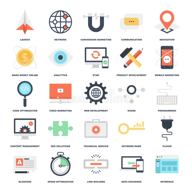 SEO and Development. Abstract vector set of colorful flat SEO and development icons. Creative concepts and design elements for mobile and web applications stock illustration