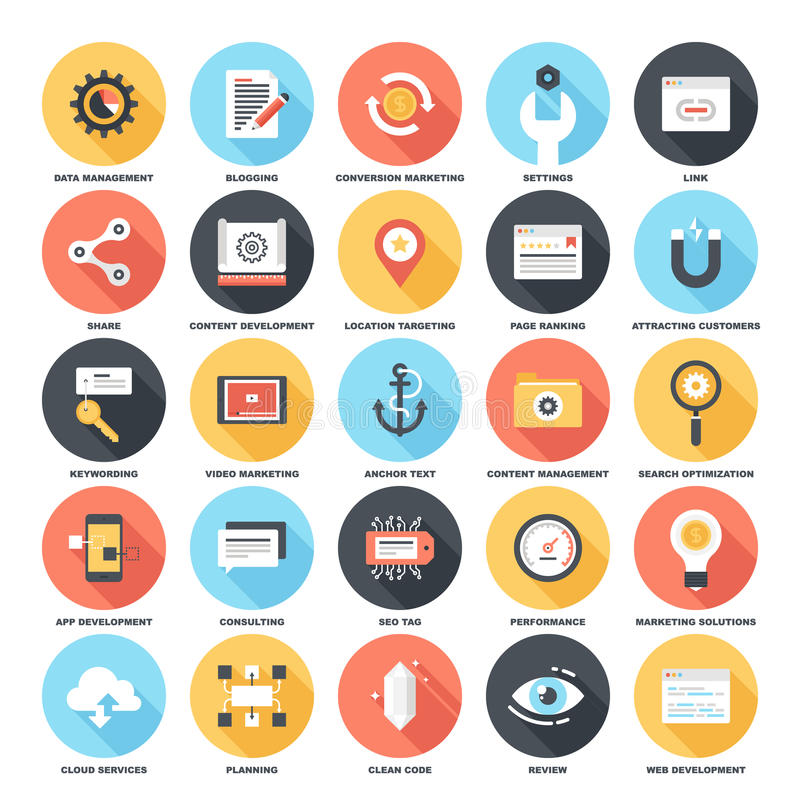 SEO and Development. Abstract vector set of colorful flat SEO and development icons with long shadow. Creative concepts and design elements for mobile and web vector illustration
