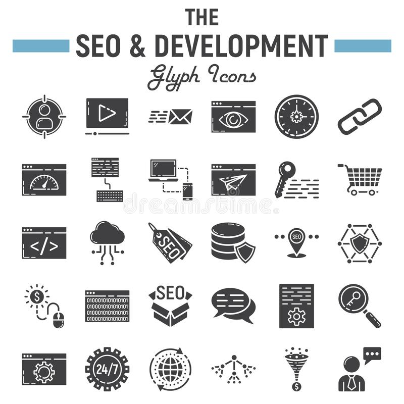 SEO and development glyph icon set, business signs stock illustration