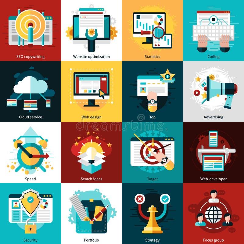 Seo Development Icons royalty-vrije illustratie
