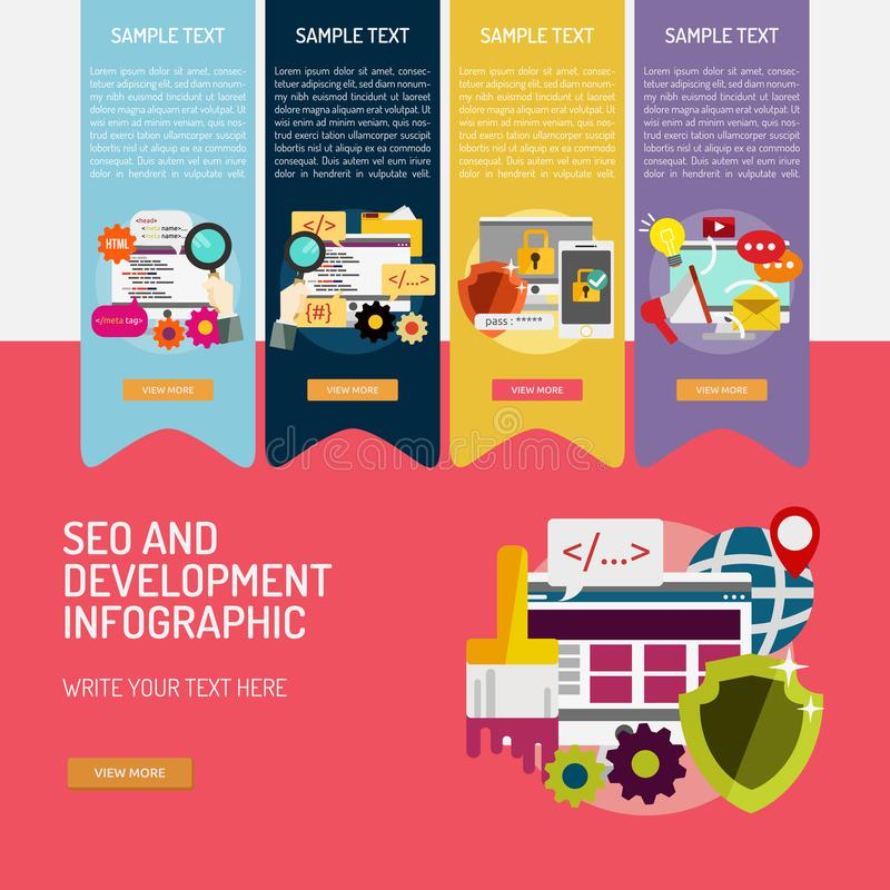 SEO and Development Infographic Complex royalty free illustration