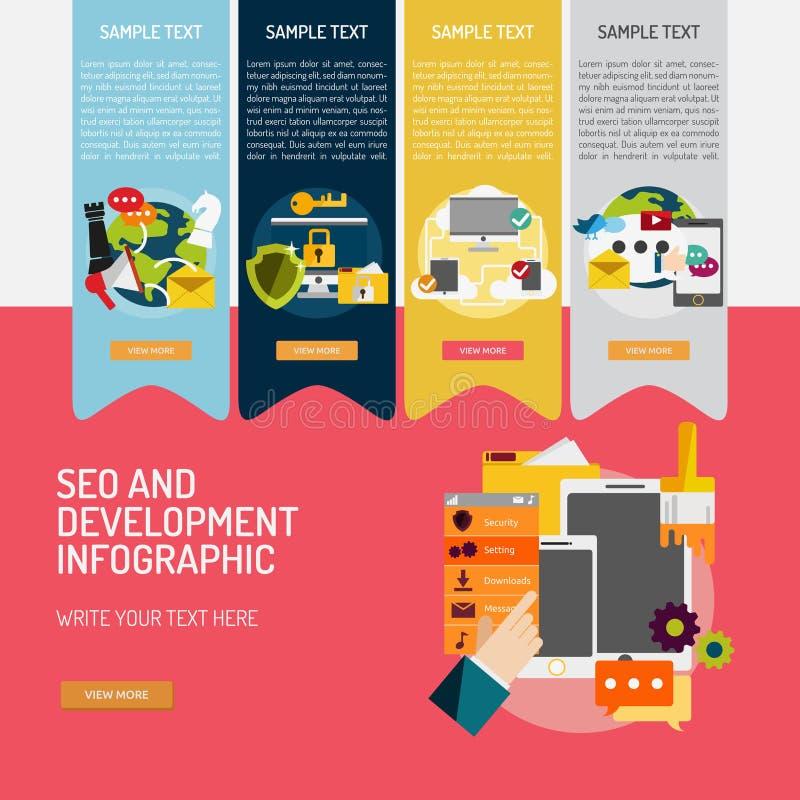 SEO and Development Infographic Complex stock illustration