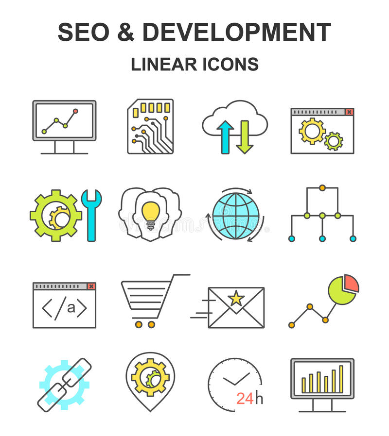 SEO and development linear icons. vector illustration