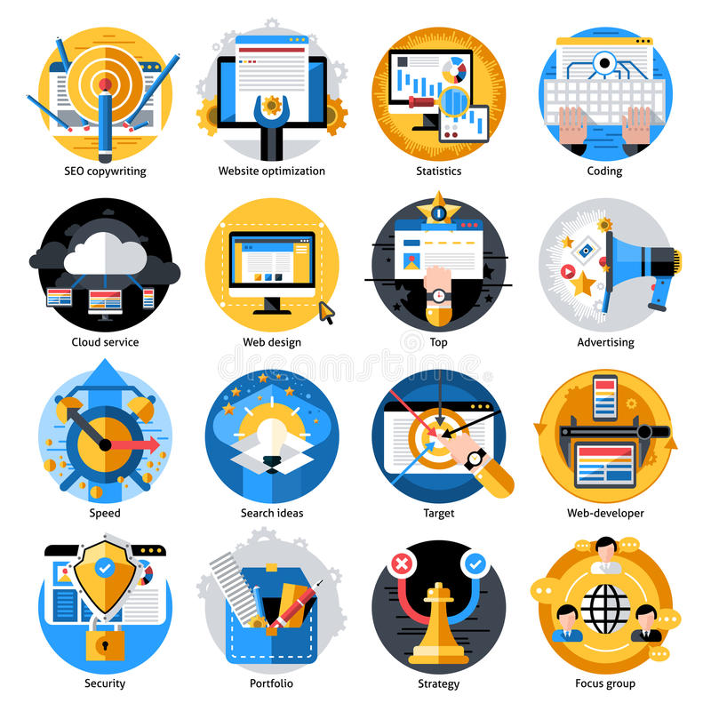 Seo Development Round Icons Set stock de ilustración