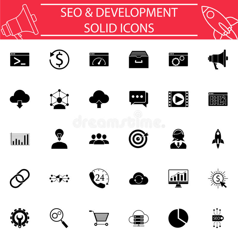 SEO and Development solid icon set vector illustration