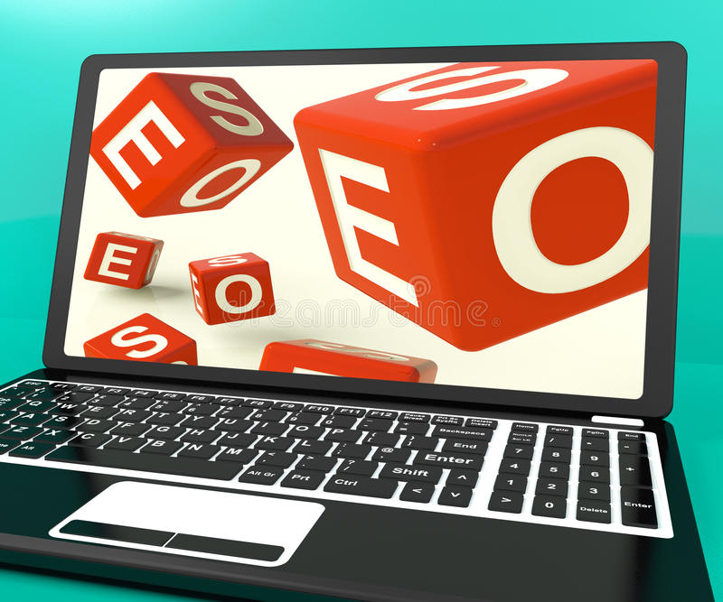 Download Seo Dice On Laptop Showing Online Web Optimization Stock Illustration - Image: 26475800