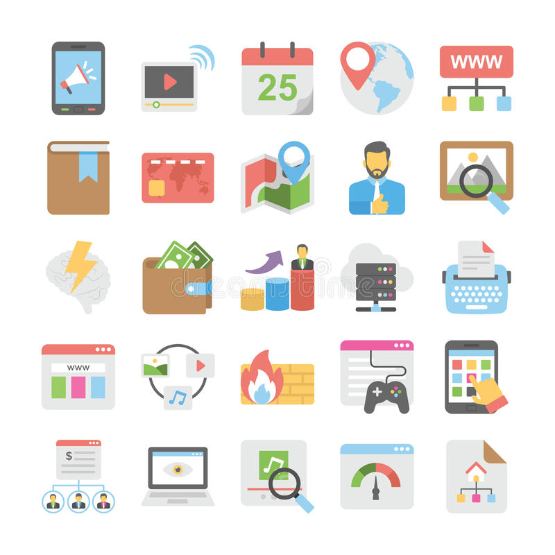 Seo and Digital Marketing Colored Icons 2. Set of seo and digital marketing flat colored icons vector illustration