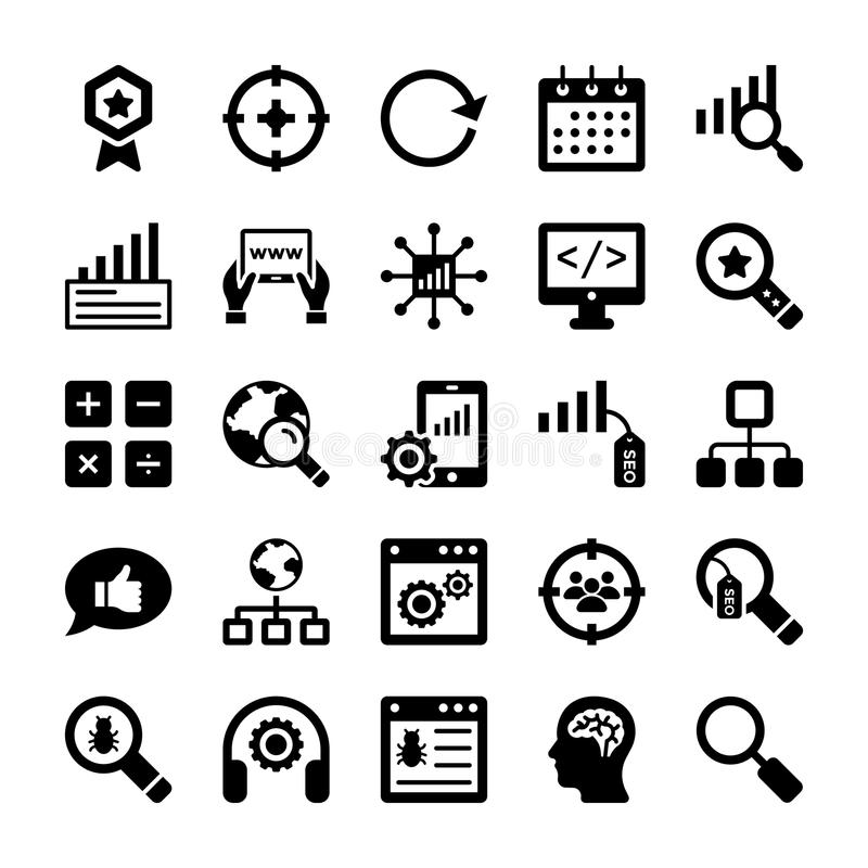 Seo and Digital Marketing Glyph Vector Icons 10. Here is new and trendy Seo and Digital Marketing Glyph Vector Icons set that is just perfect for use in website royalty free illustration