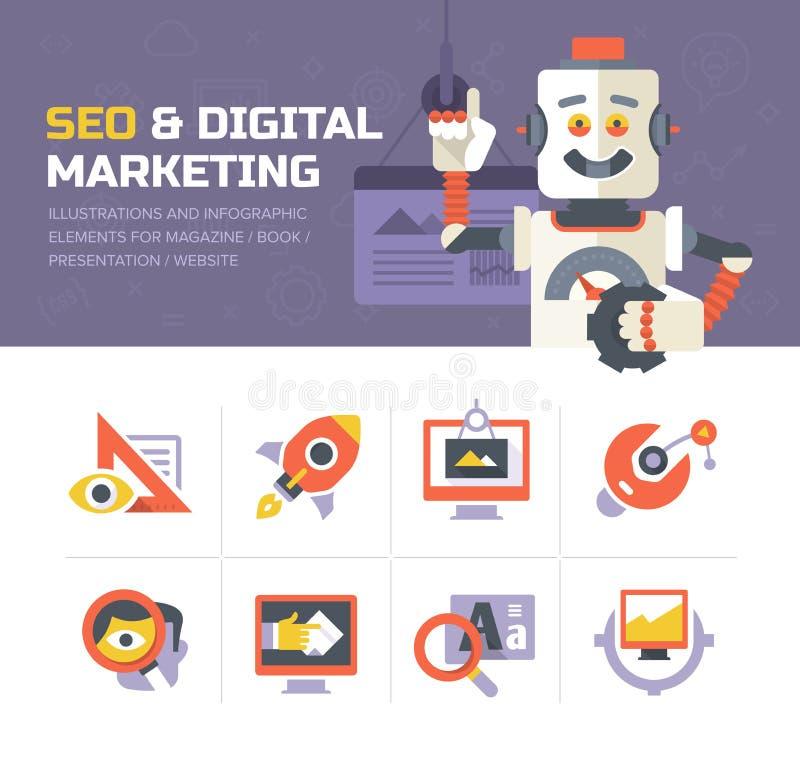 SEO & Digitale Marketing Pictogrammen vector illustratie