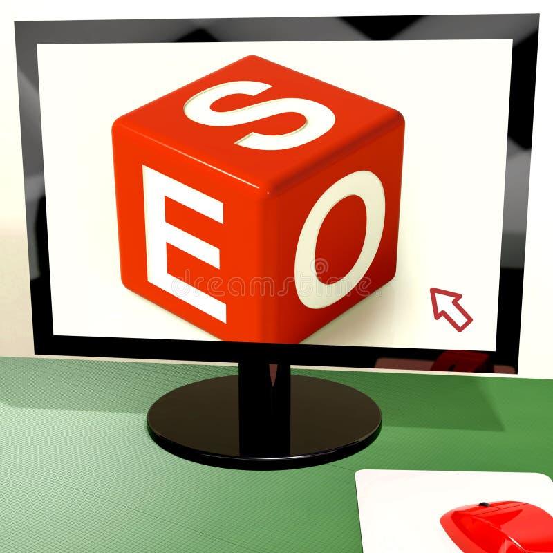 Seo dobbelt op Computer toont de Online Optimalisering van het Web stock illustratie