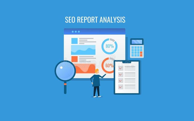 Seo donosi analizę, biznesmen analizuje seo dane i statystyki, online marketingowe analityka, budżet, obliczenie, pojęcie royalty ilustracja