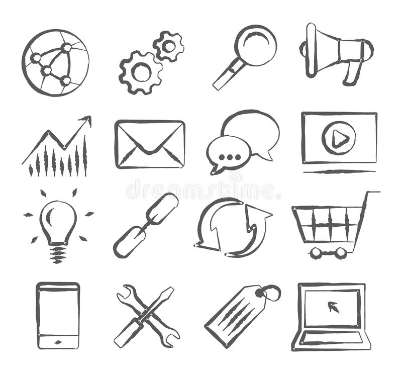 SEO Doodle Icons vector illustration