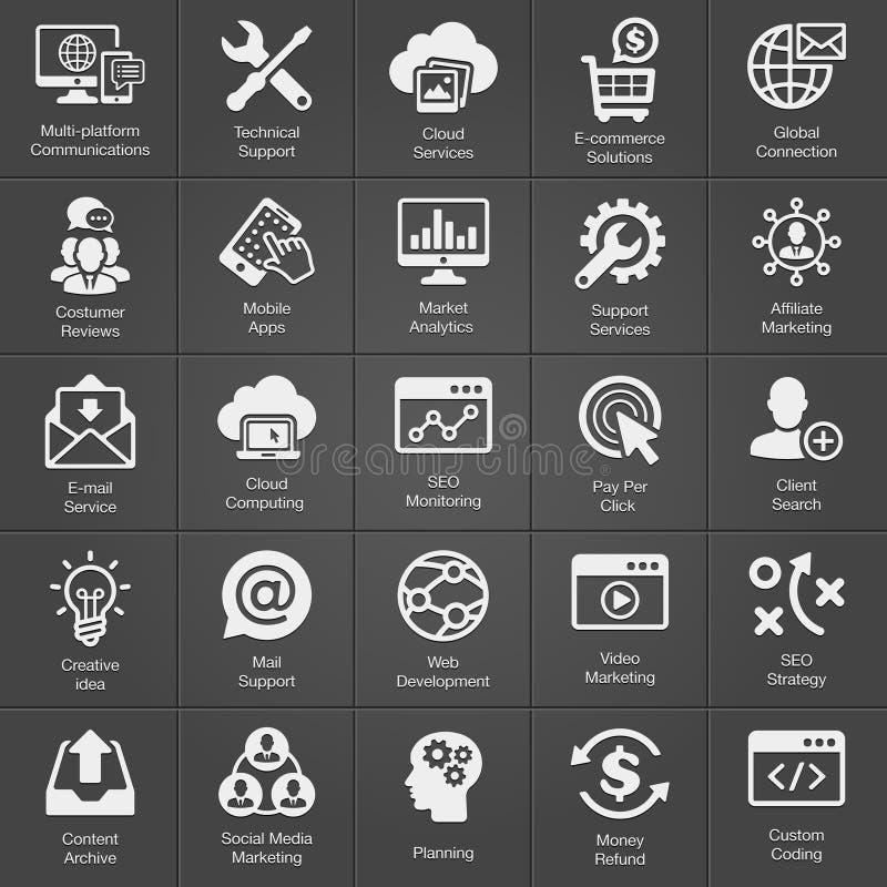 SEO e ícone do desenvolvimento ajustado no preto ilustração royalty free