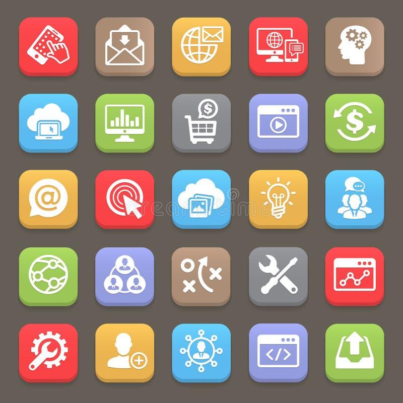 SEO e ícones do desenvolvimento para a Web, móveis Vetor ilustração do vetor