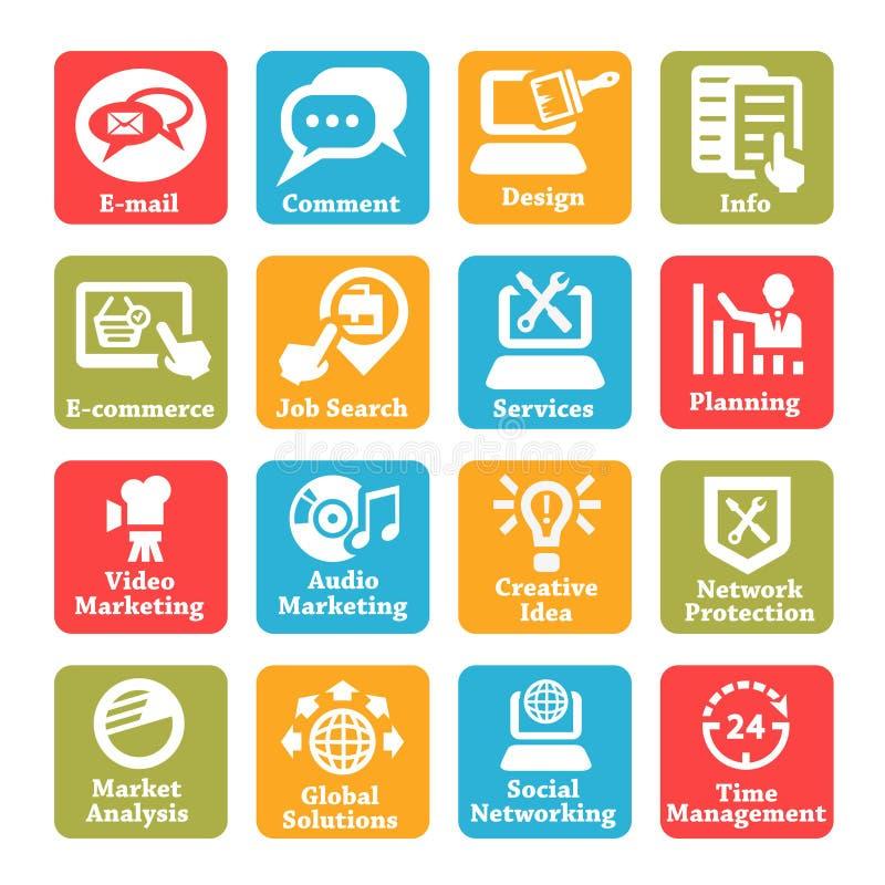 Seo e ícones do serviço de Internet ajustados ilustração royalty free
