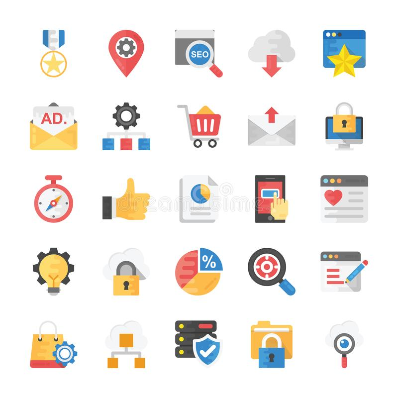 SEO e ícones lisos de mercado ilustração stock