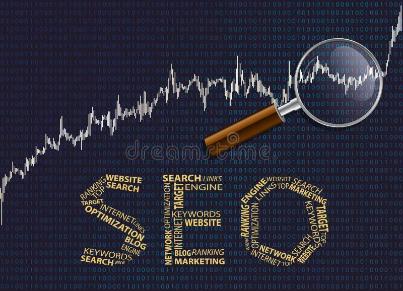Seo e grafico con una lente d'ingrandimento illustrazione di stock