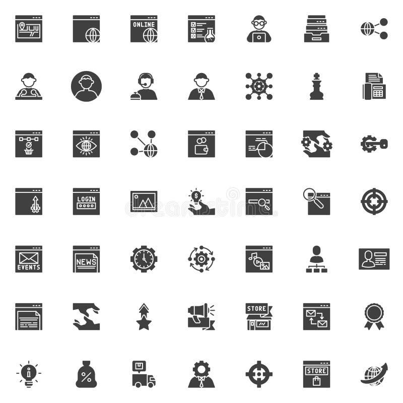 SEO e grupo dos ícones do vetor do serviço de Internet ilustração stock