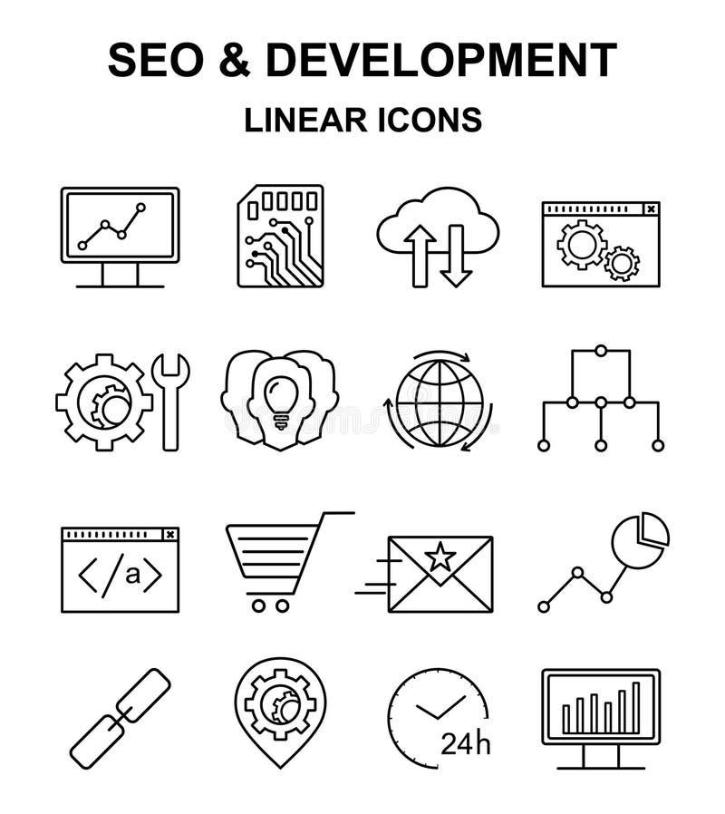 SEO e iconos lineares del desarrollo fijados ilustración del vector