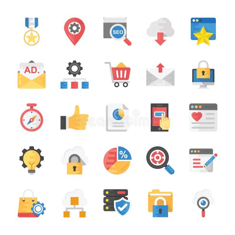 SEO e iconos planos de comercialización stock de ilustración