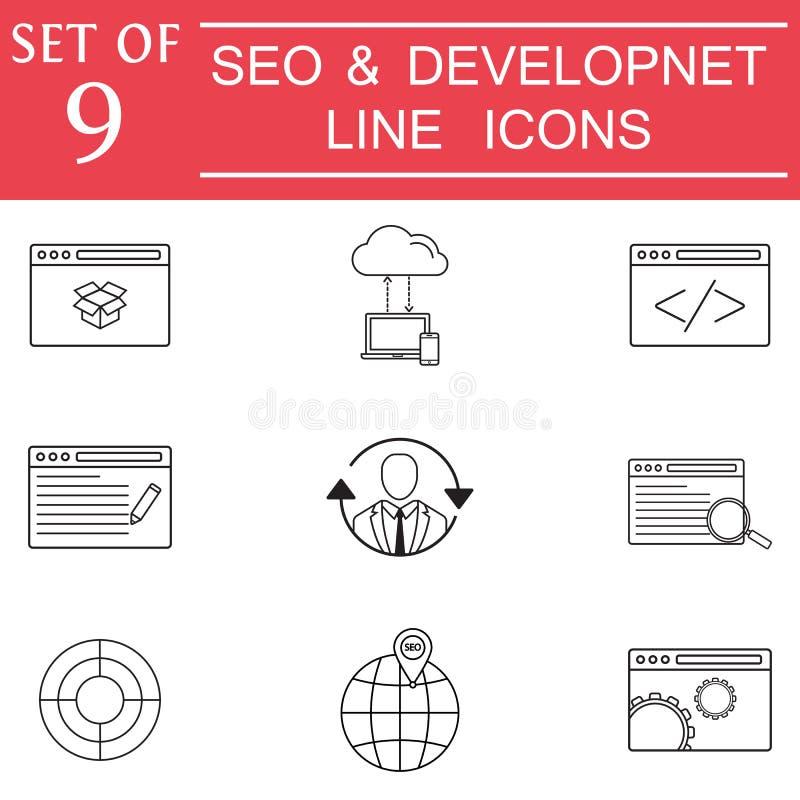 SEO e l'insieme dell'icona dello sviluppo, affare firma royalty illustrazione gratis