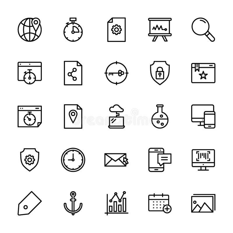 Seo e linha grupo da Web dos ícones ilustração stock