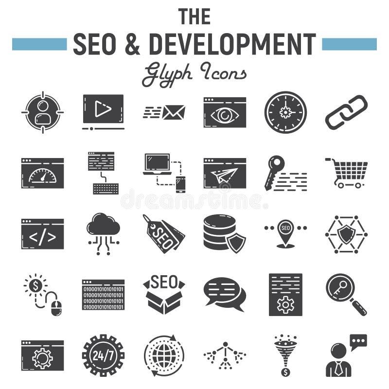 SEO e o grupo do ícone do glyph do desenvolvimento, negócio assinam ilustração stock