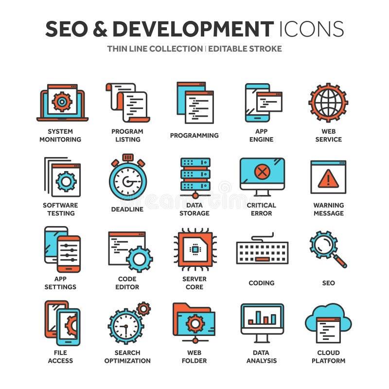 Seo e sviluppo di app Ottimizzazione di Search Engine Internet, commercio elettronico Linea sottile insieme blu dell'icona di web illustrazione di stock