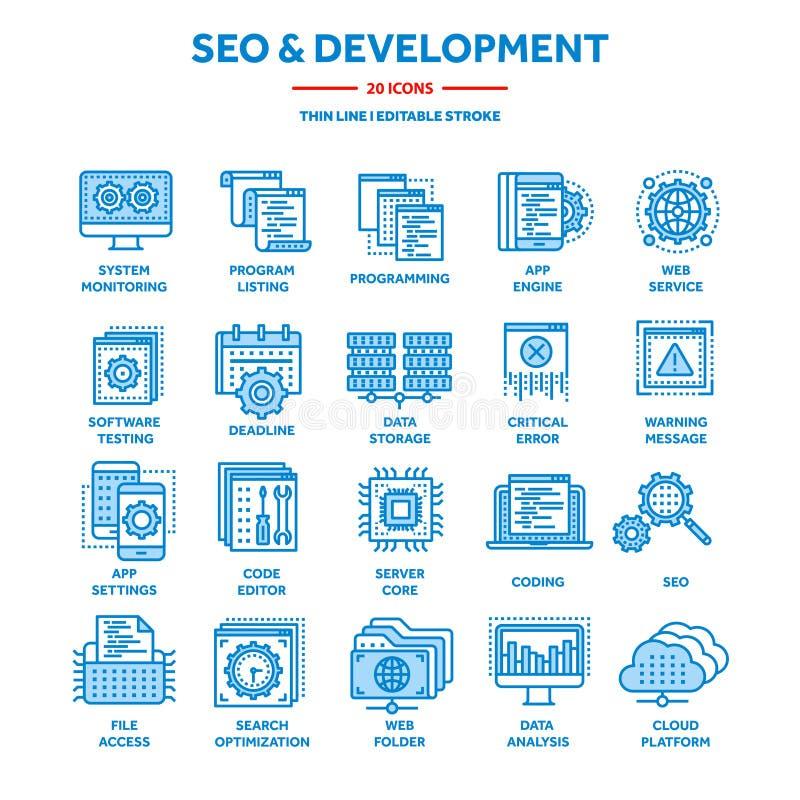 Seo e sviluppo di app Ottimizzazione di Search Engine Internet, commercio elettronico Linea sottile insieme blu dell'icona di web royalty illustrazione gratis