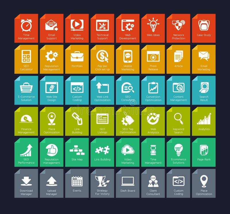 SEO ed insieme dell'icona di sviluppo illustrazione vettoriale