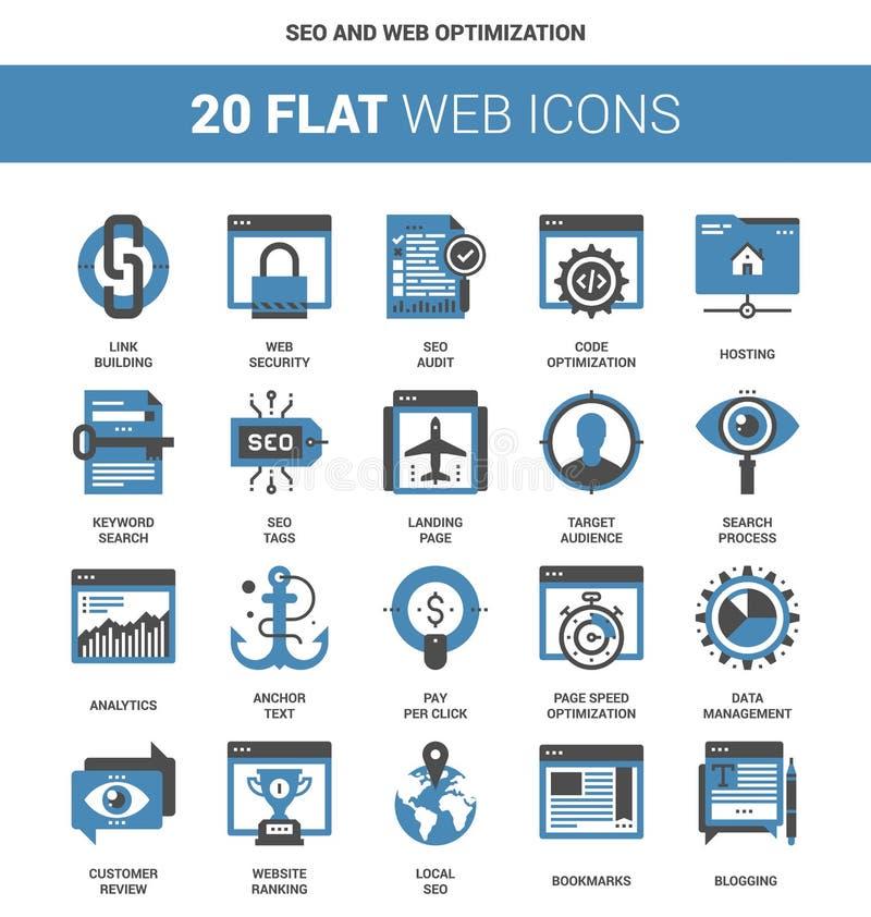SEO ed ottimizzazione di web illustrazione vettoriale