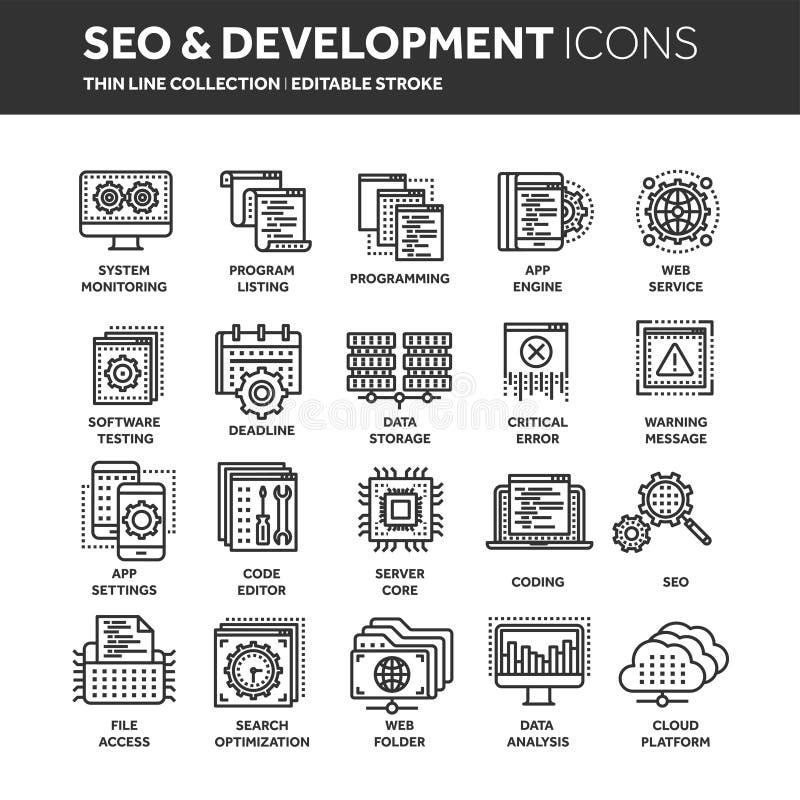 Seo en app ontwikkeling De motoroptimalisering van het onderzoek Internet, elektronische handel Dunne het pictogramreeks van het  vector illustratie