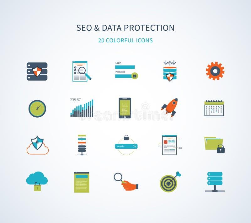 Seo en gegevensbeschermingpictogrammen stock illustratie