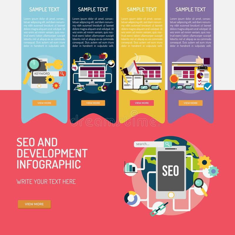 SEO en Ontwikkeling Complexe Infographic royalty-vrije illustratie