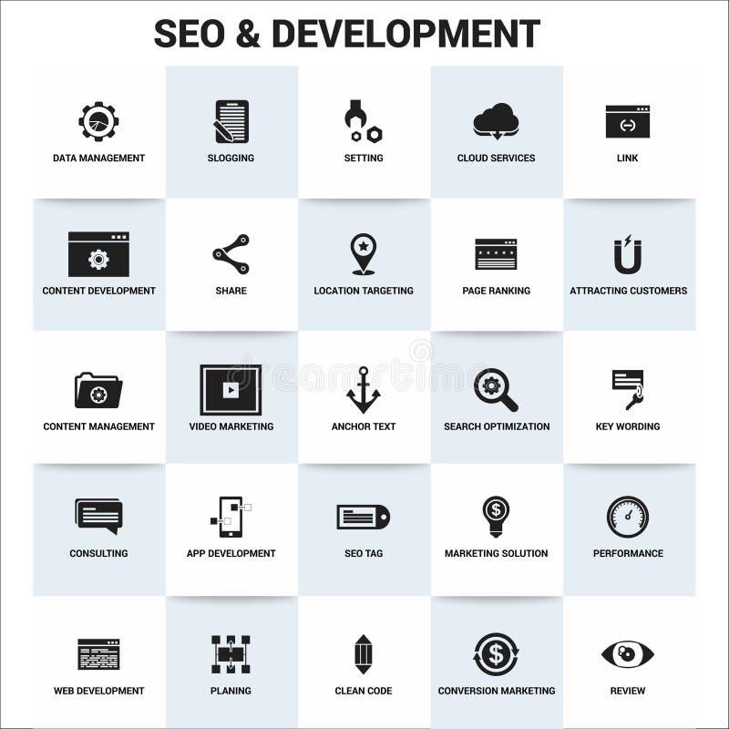Seo en Ontwikkelingspictogrammen geplaatst vector royalty-vrije illustratie