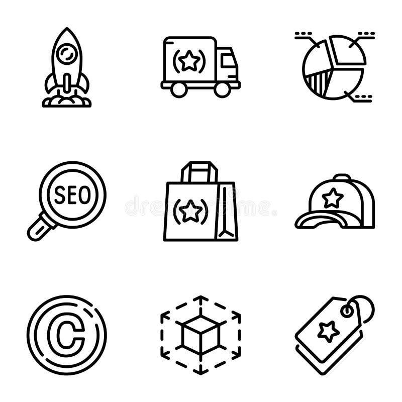 Seo engine icon set, outline style royalty free illustration