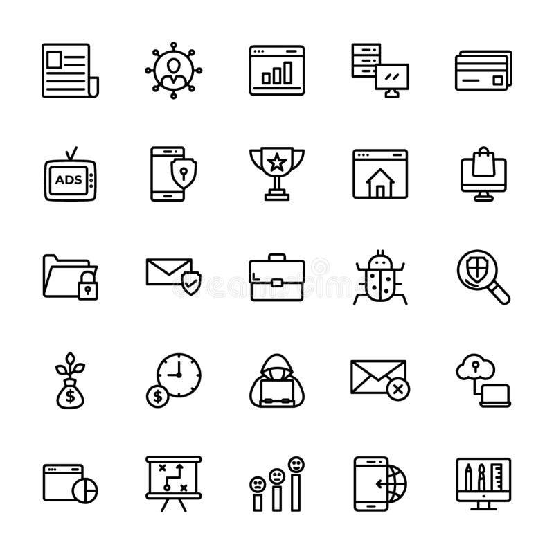 Seo et ligne ensemble de Web de vecteurs illustration libre de droits