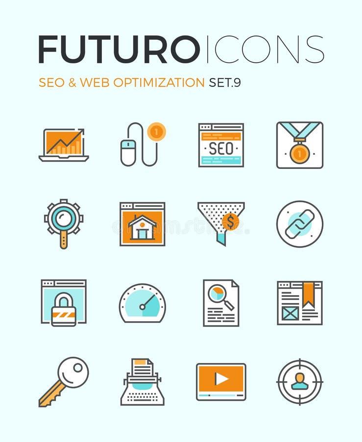SEO et ligne icônes de futuro d'optimisation de Web illustration de vecteur