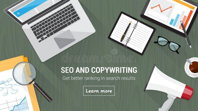 Seo et rédaction publicitaire illustration de vecteur