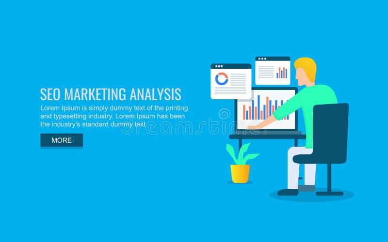 Seo expert som analyserar websiterapporten som marknadsför data, begrepp för information om kund Plant designvektorbaner stock illustrationer