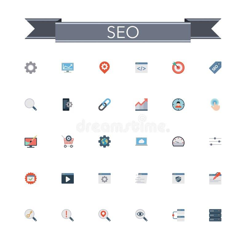 SEO Flat Icons vector illustration