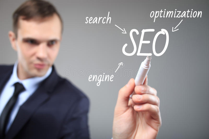 SEO flow chart written by executive as a background stock photos