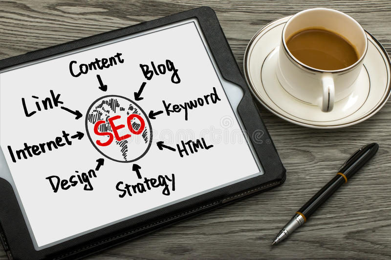 Seo flowchart hand drawing on tablet pc. Seo concept flowchart hand drawing on tablet pc royalty free stock photography