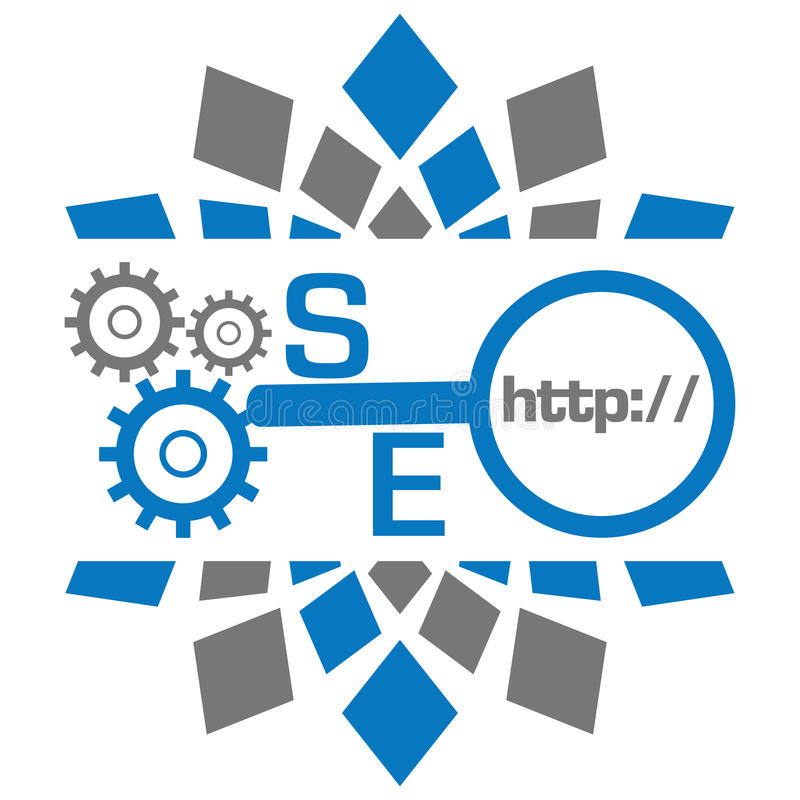 SEO With Gears Magnifying Glass Blue Grey Circular. Seo concept image with conceptual creative text over grey blue background royalty free illustration