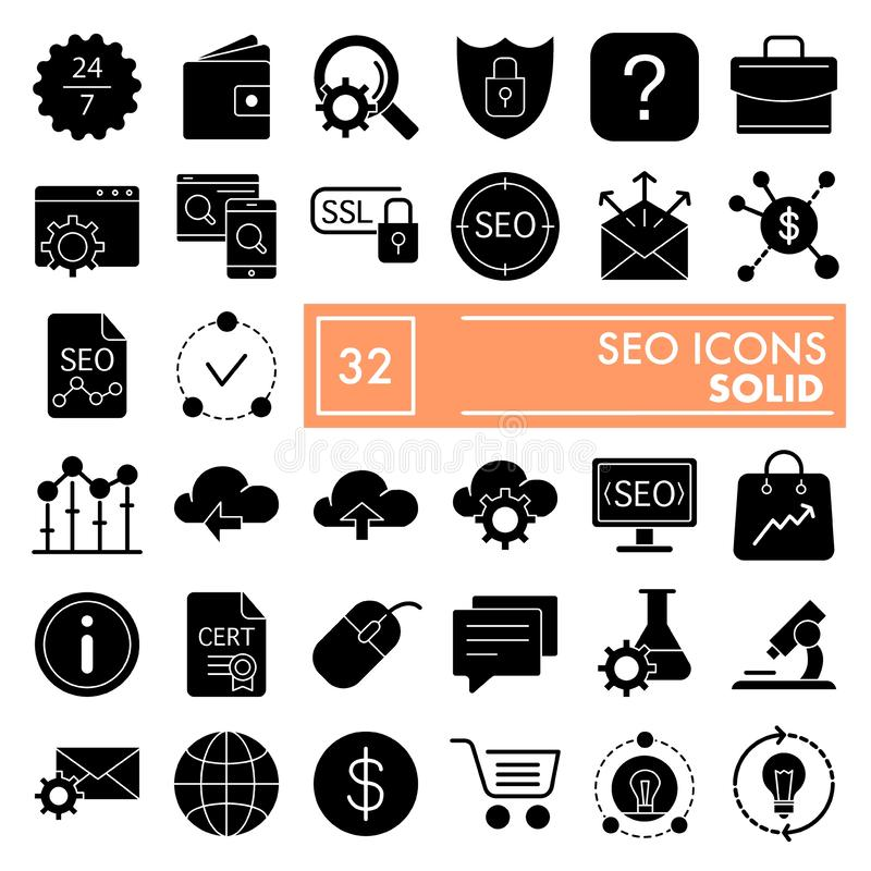 SEO glyph icon set, marketing symbols collection, vector sketches, logo illustrations, optimization signs solid royalty free illustration