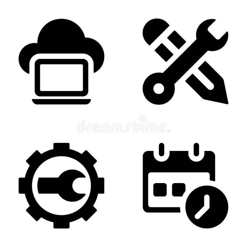 Seo Glyph Icons Bundle stock illustratie