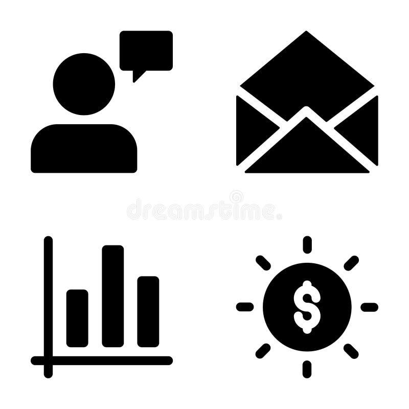 Seo Glyph Icons Set vector illustratie